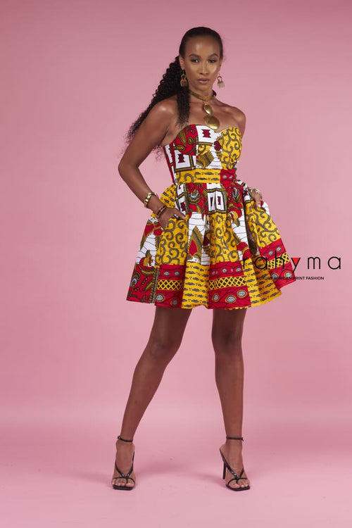 Mixed Print Padded Bustier Short Dress - Rahyma