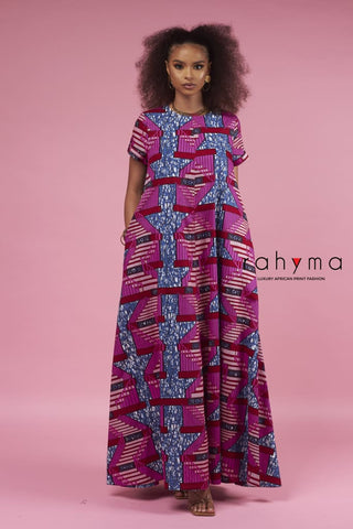 Mixed Print Kaftan Dress