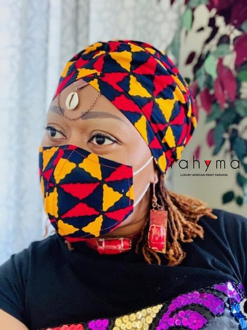 Pre-made Turban Set Dope Print - Rahyma