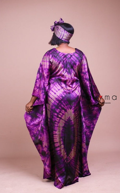 Purple Adire Boubou - Rahyma