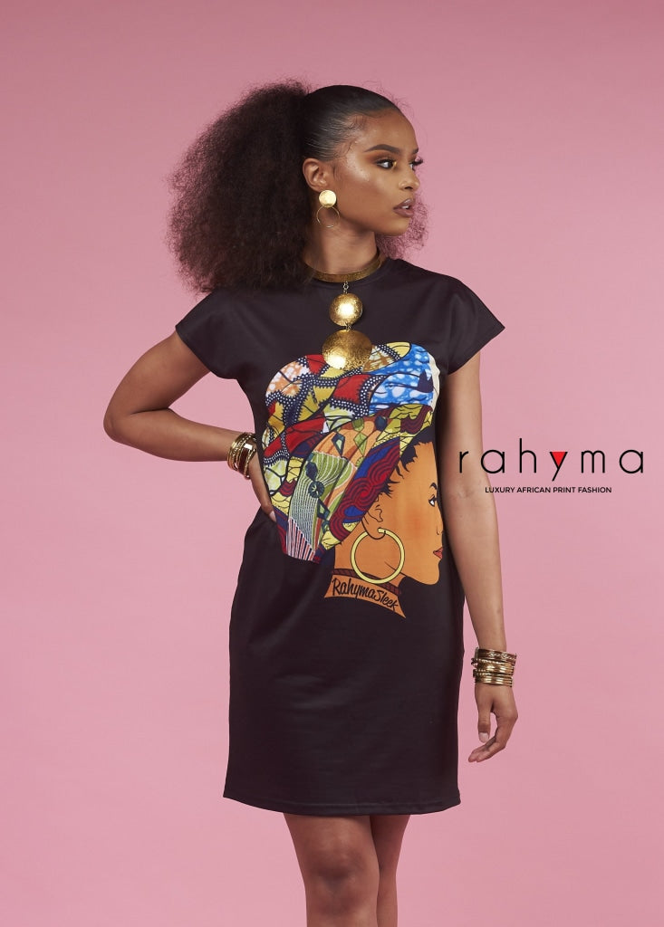 Queen Neriah T-Shirt |Dress| BLACK - Rahyma