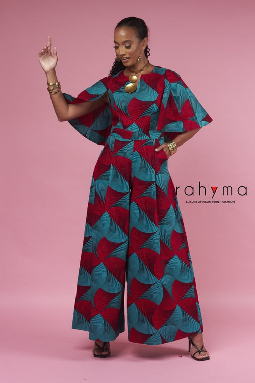 Red Grace Cape Pallazo Jumpsuit - Rahyma