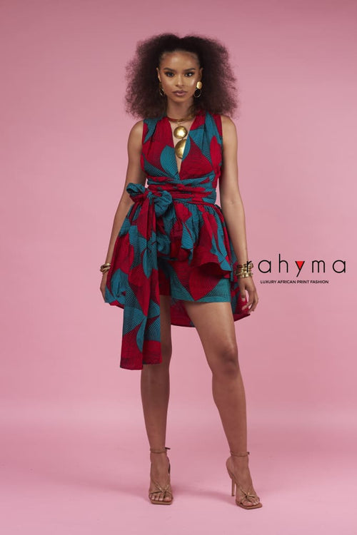 Red Grace Infinity Wrap Blouse - Rahyma
