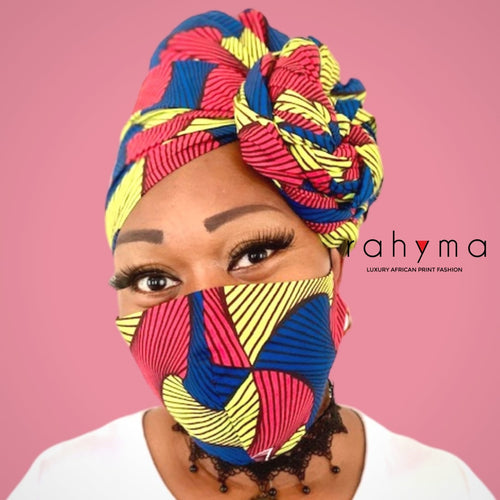 Reversible  Mask and Head-wrap Set Bella. - Rahyma