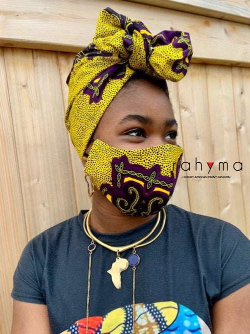 Reversible  Mask and Head-wrap Set Binta - Rahyma
