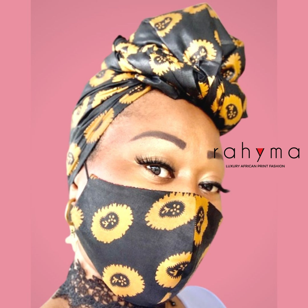 Reversible  Mask and Head-wrap Set Black-Gold. - Rahyma