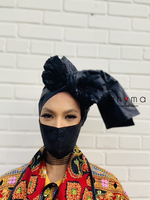 Reversible Mask and Head-wrap Set Black Pantha. - Rahyma