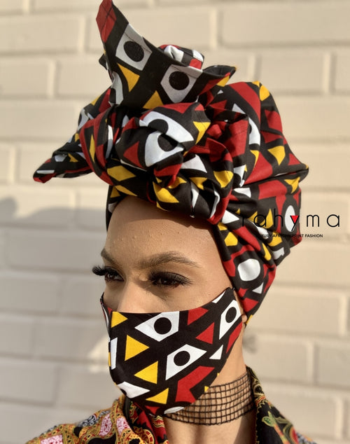 Reversible Mask and Head-wrap Set Chizom. - Rahyma