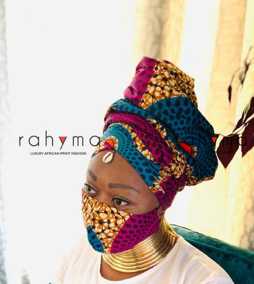Reversible  Mask and Head-wrap Set Circle Royal. - Rahyma