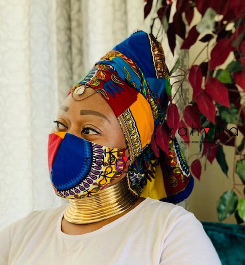 Reversible Mask and Head-wrap Set Dashiki - Rahyma