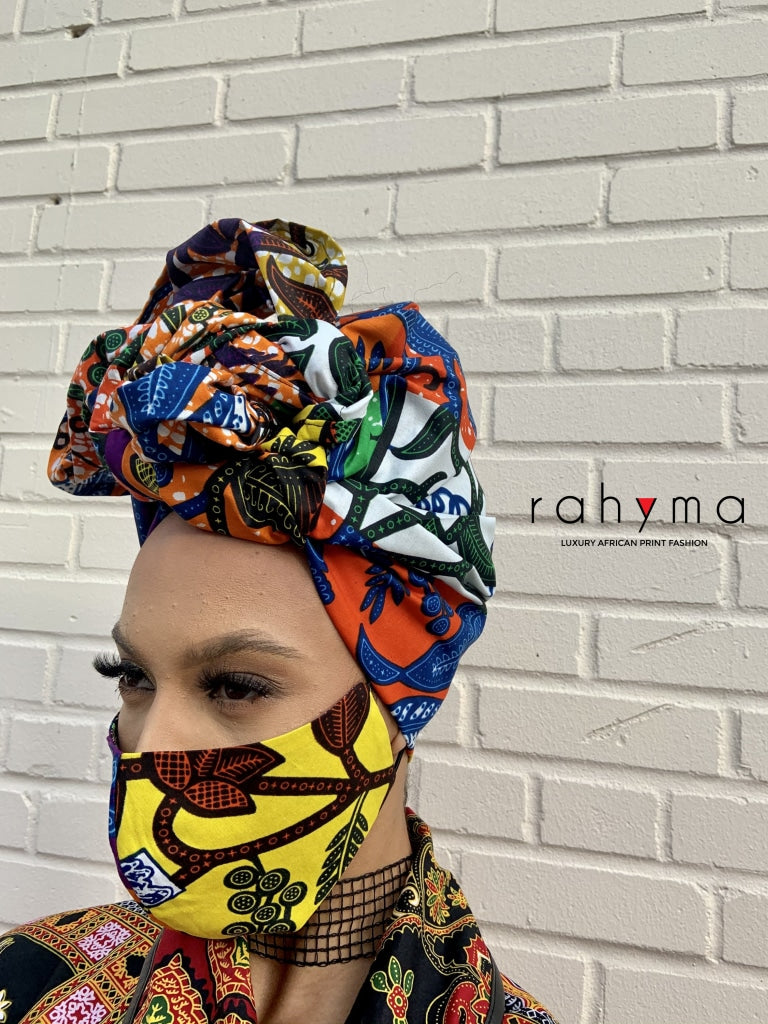 Reversible Mask and Head-wrap Set Dunni. - Rahyma