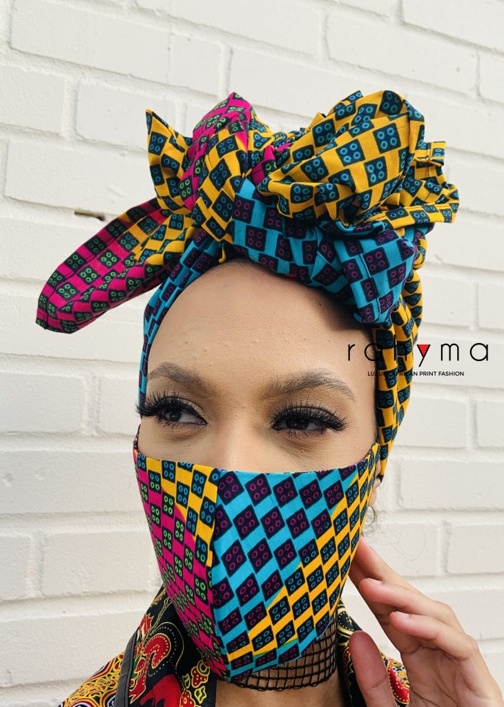 Reversible Mask and Head-wrap set Jane. - Rahyma