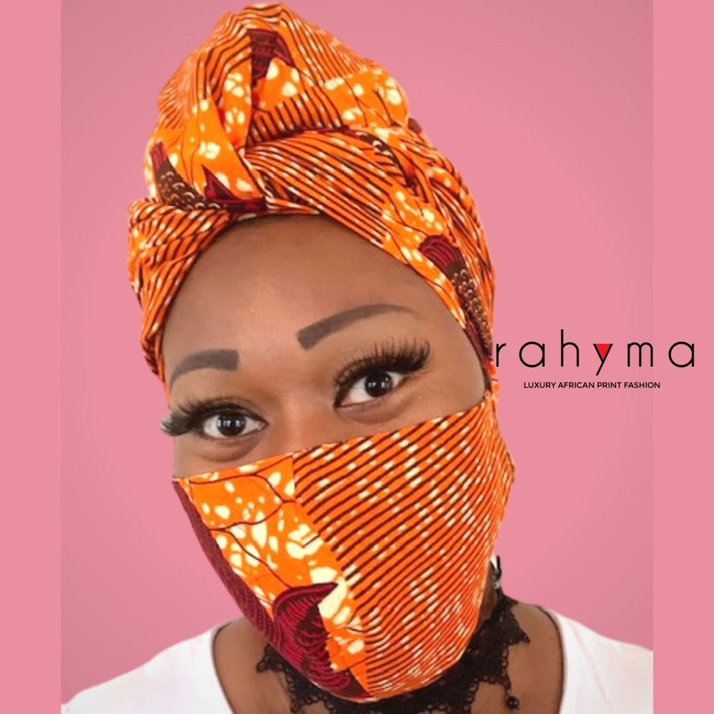 Reversible  Mask and Head-wrap Set Orange. - Rahyma