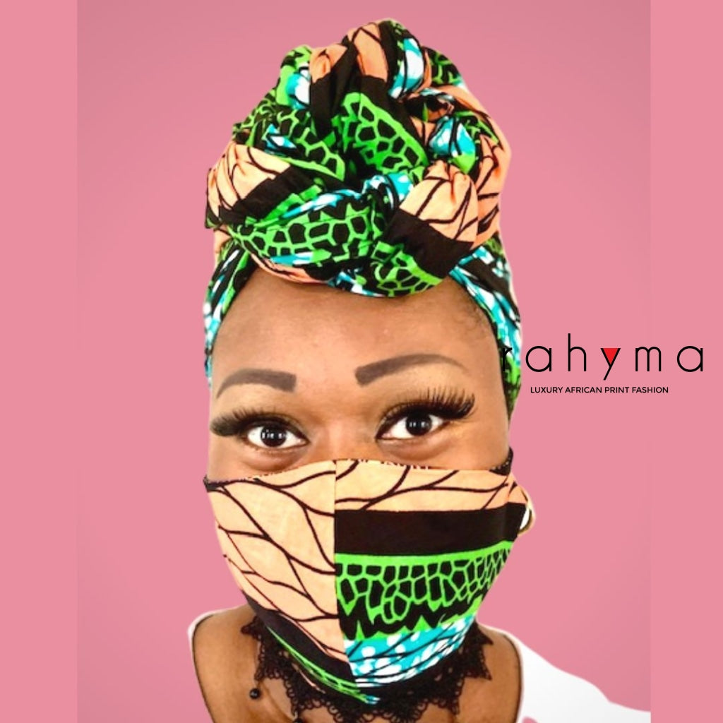 Reversible  Mask and Head-wrap Set Peach-Green. - Rahyma
