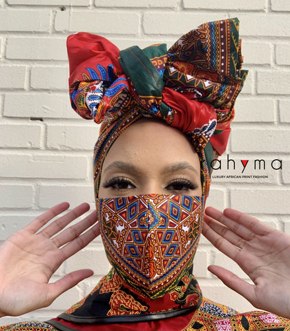 Reversible  Mask and Head-wrap Set Bisi.