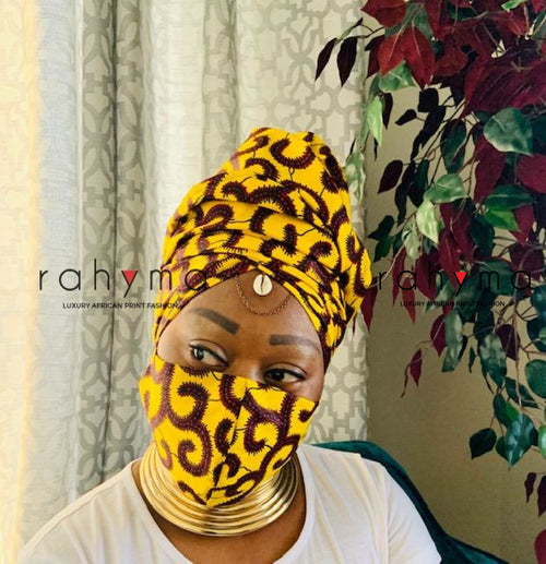 Reversible Mask and Head-wrap Set Spiral Yellow. - Rahyma