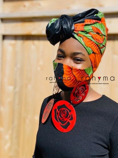 Reversible Mask and Headwrap Set Black & Orange - Rahyma