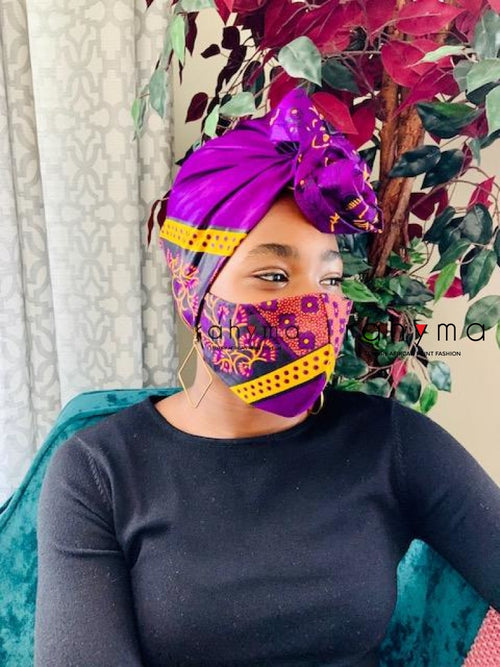 Reversible Mask and Headwrap Set Purple Nana - Rahyma