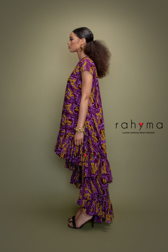 Zara Purple leaf Water Fall Dress - Rahyma