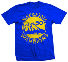 "50th State of Mind ""Aloha State Warriors"" Mens Blue T-Shirt"