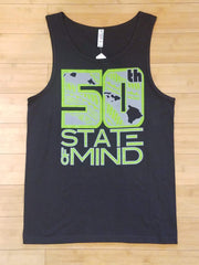 "50th State of Mind ""Logo Tribal"" Mens Black Tank Top, Small"