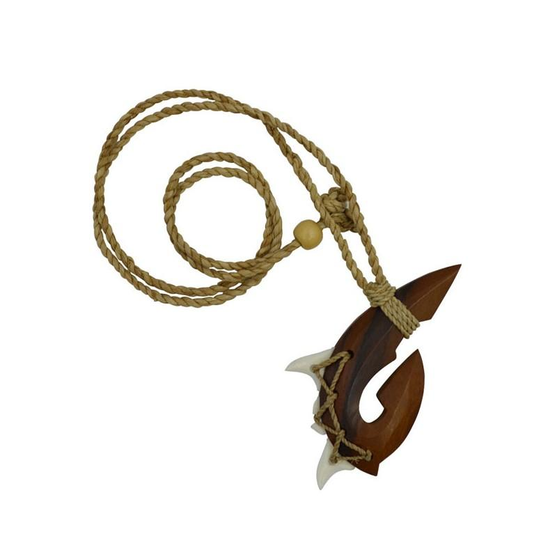 Wood Fish Hook Necklace with Teeth - Leilanis Attic