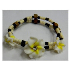 Yellow and White Plumeria with Coconut Bracelet