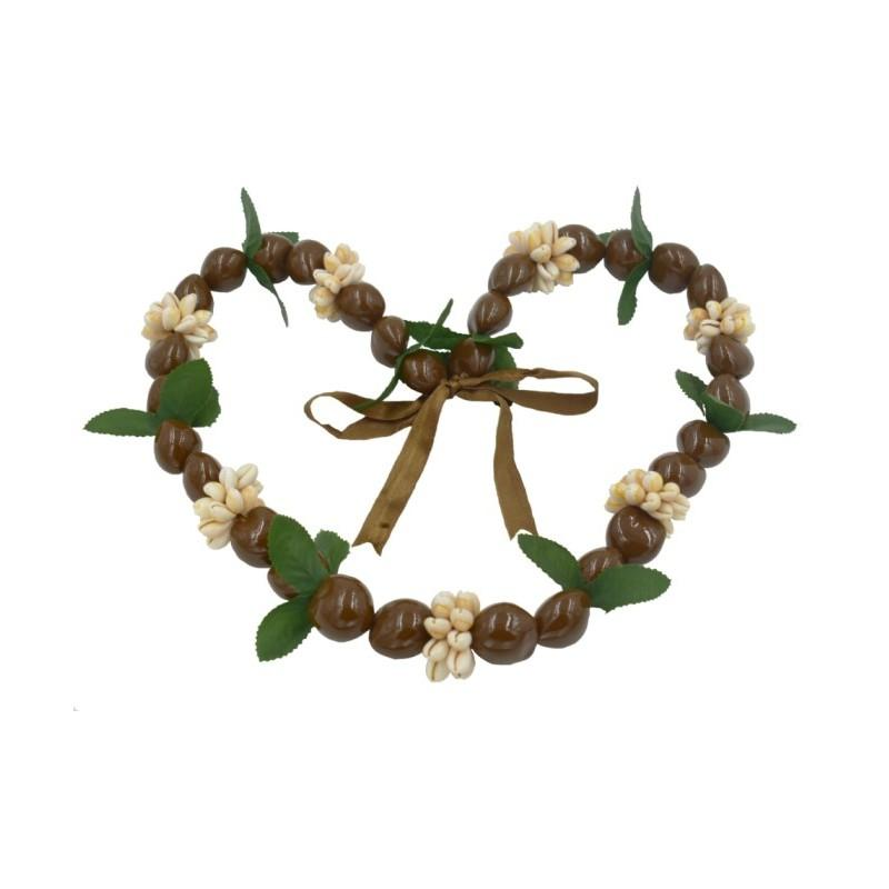 Kukui Nut with Cowrie and Leaf Lei, Brown - Leilanis Attic