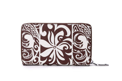 Happy Wahine Chloe Tapa Tiare Brown Wallet
