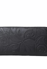 Happy Wahine Kaylee Tapa Tiare Embossed Black Wallet