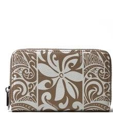 Happy Wahine Chloe Tapa Tiare Light Brown Wallet