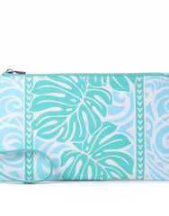 Happy Wahine Joanne Monstera Blue Wristlet
