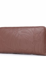 Happy Wahine Kaylee Monstera Orchid Brown Embossed Wallet