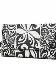 Happy Wahine Tapa Tiare Black and White Clutch