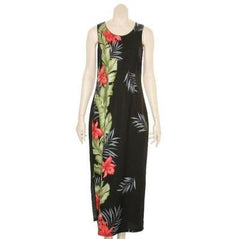 "Hilo Hattie Womens ""Dobby Orchid"" Panel Long Dress (Black)"