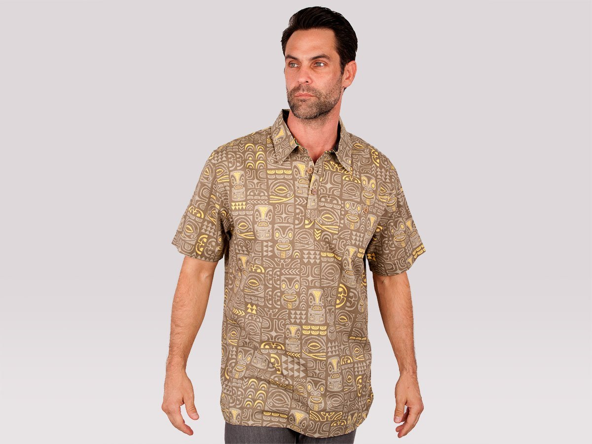 "Te Aito ""To'a Hiti"" Mens Pullover Brown Aloha Shirt - Leilanis Attic"