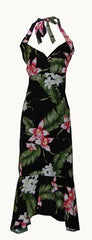 Jade Fashion Black with Pink Orchid and Monstera Halter Top Dress