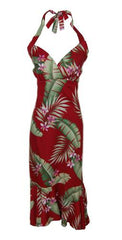 Jade Fashion Red with Pink Plumeria Halter Top Dress