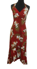 Jade Fashion Red with White Hibiscus and Plumeria Halter Top Dress