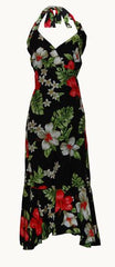 Jade Fashion Black with Red and White Hibiscus Halter Top Dress