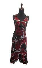 Jade Fashion Black with Red Swirl Monstera Halter Top Dress