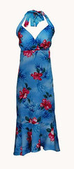 Jade Fashion Blue with Red Hibiscus Halter Top Dress