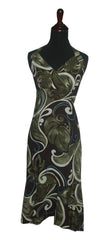 Jade Fashion Brown with Blue Swirl Monstera Halter Top Dress
