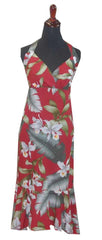 Jade Fashion Red with White Orchid and Monstera Halter Top Dress