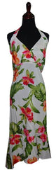 Jade Fashion White with Orange and Pink Hibiscus and Monstera  Halter Top Dress