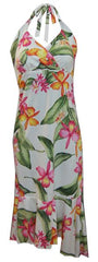 Jade Fashion White with Orange and Pink Orchid and Plumeria Halter Top Dress