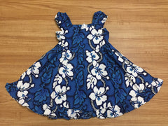 KY's Blue and White Hibiscus Girls Sundress