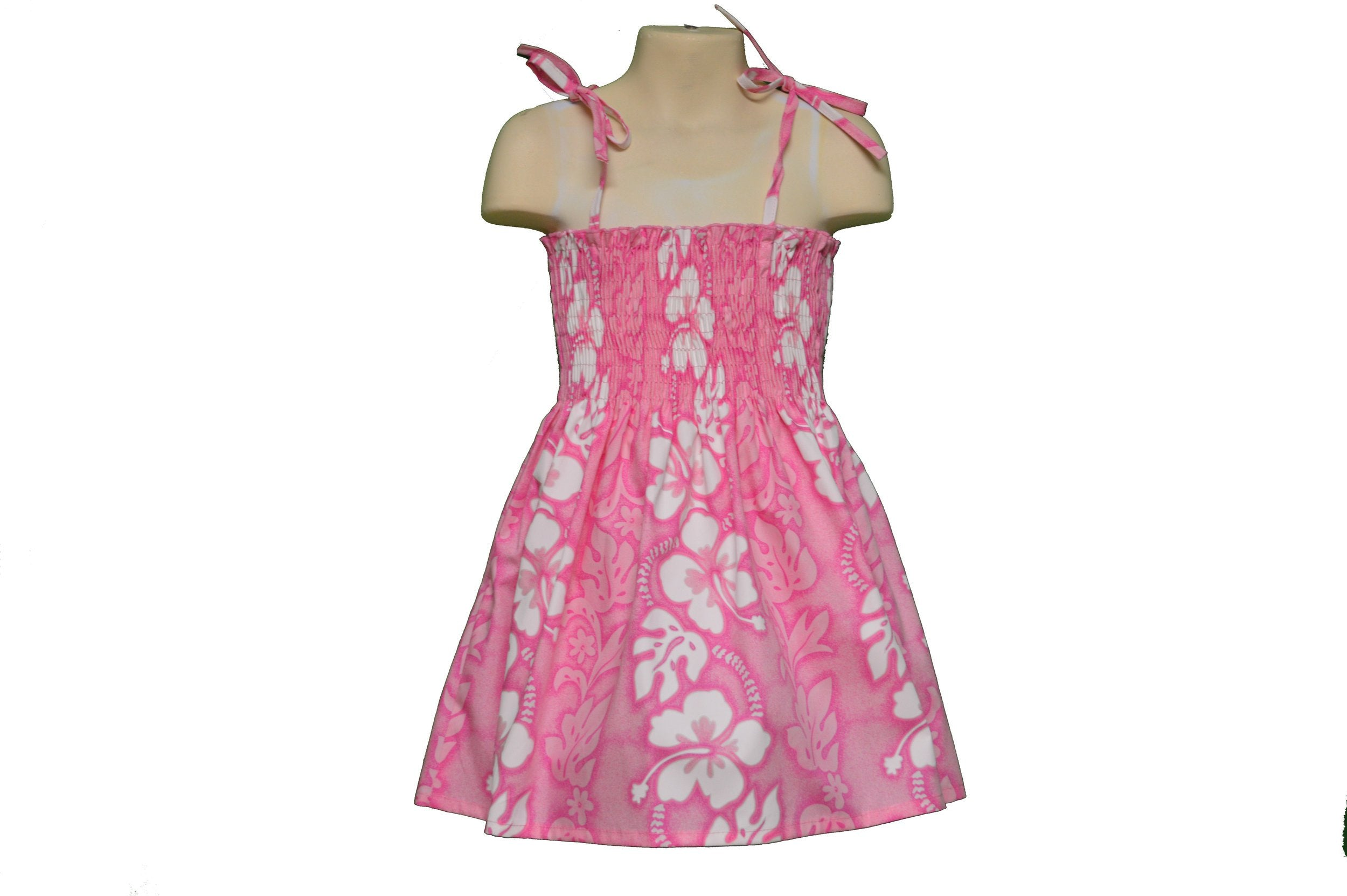 KY's Pink with White Hibiscus Girls Dress - Leilanis Attic