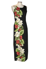 KY's Black 100% Cotton Long Tank Aloha Dress with Red Anthurium and White Hibiscus