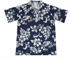 KY's Blue Boys Hawaiian Shirt with White Hibiscus